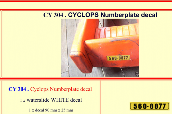 CY304 CYCLOPS Numberplate decal